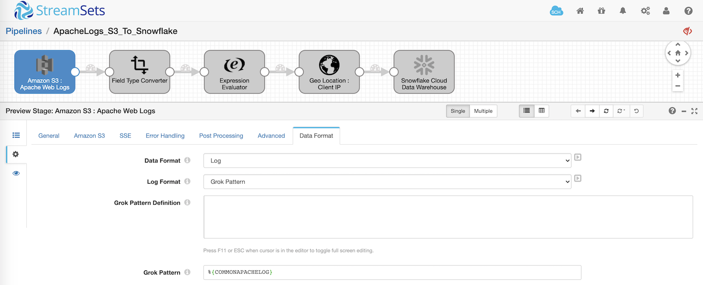 Grok Pattern in Amazon S3 origin in StreamSets Data Collector